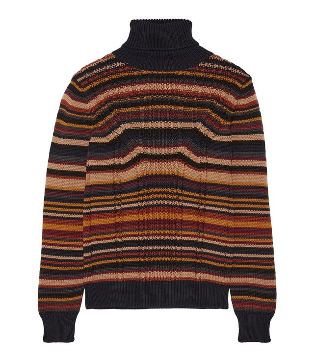 Striped Cable-knit Wool Turtleneck Sweater