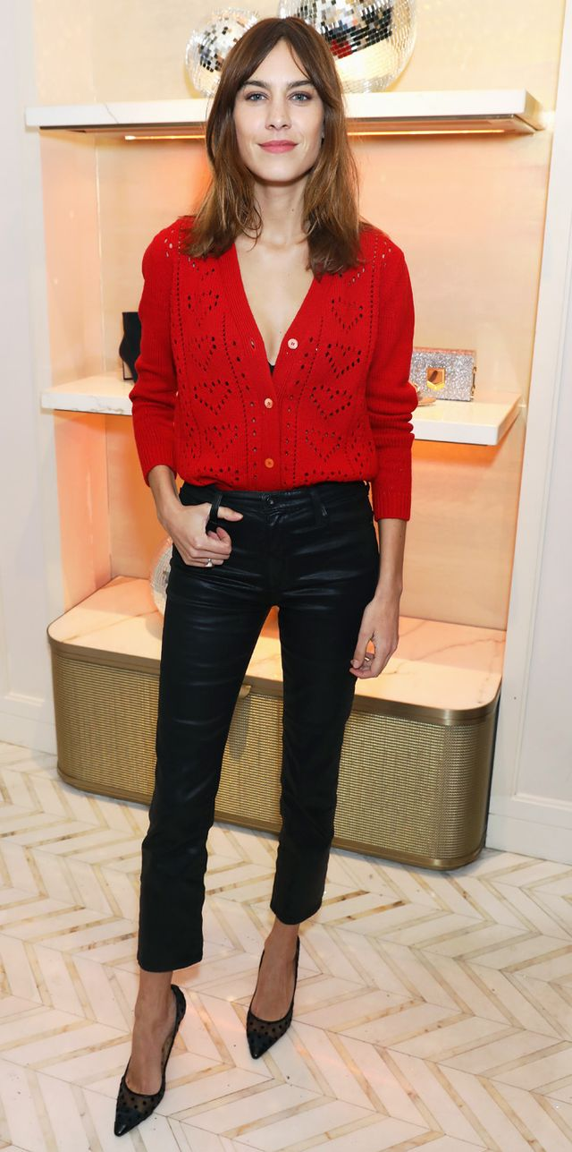 Alexa Chung red cardigan and leather trousers