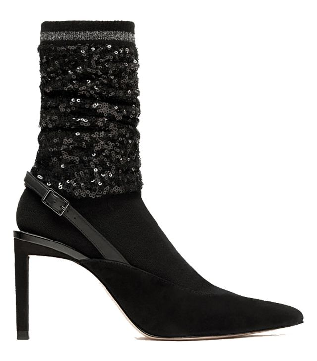 Zara Sequinned Sock-Style Slingback Courts