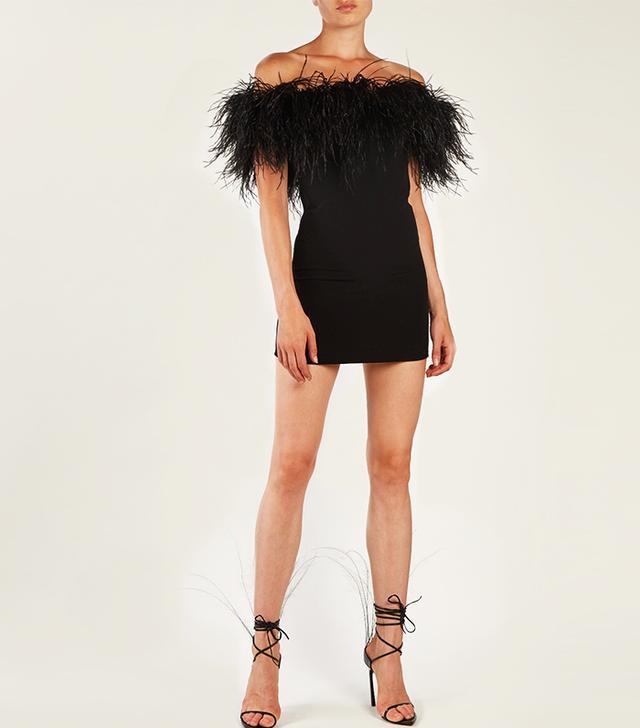 Resort trends 2018: Saint Laurent feather-trimmed dress