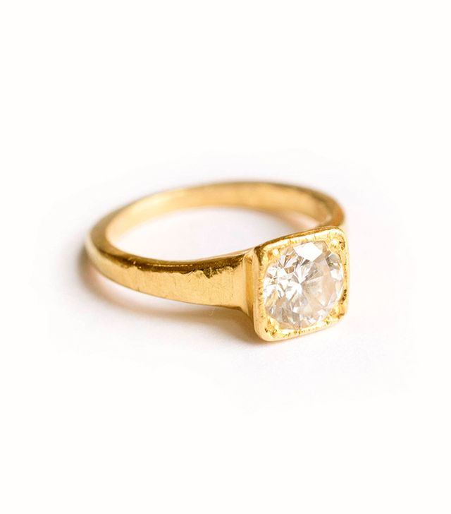 Melissa Tyson Designs Diamond 22K Gold Hammered Engagement Ring