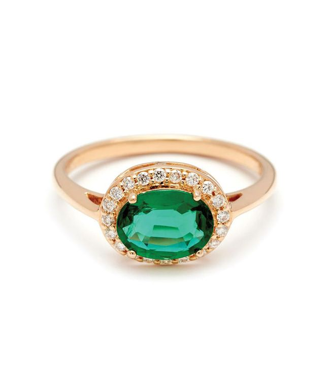 Anna Sheffield Oval Rosette Ring in Yellow Gold and Emerald