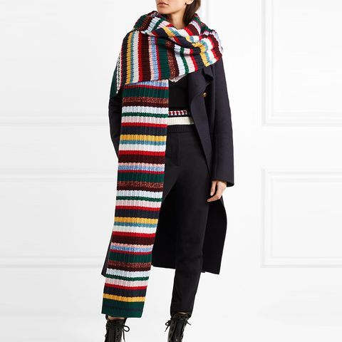 Striped Ribbed-Knit Scarf