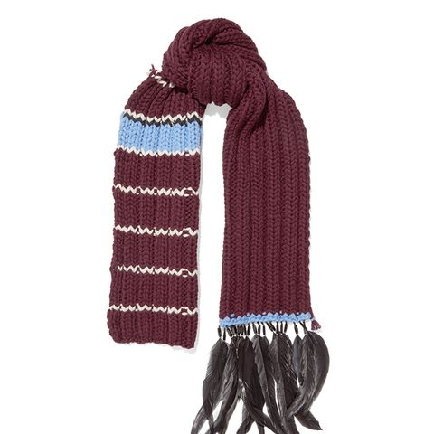 Feather and Bead-Trimmed Striped Wool Scarf