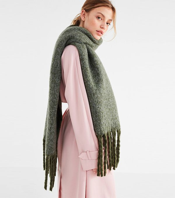 Nubby Contrast Fringe Woven Scarf
