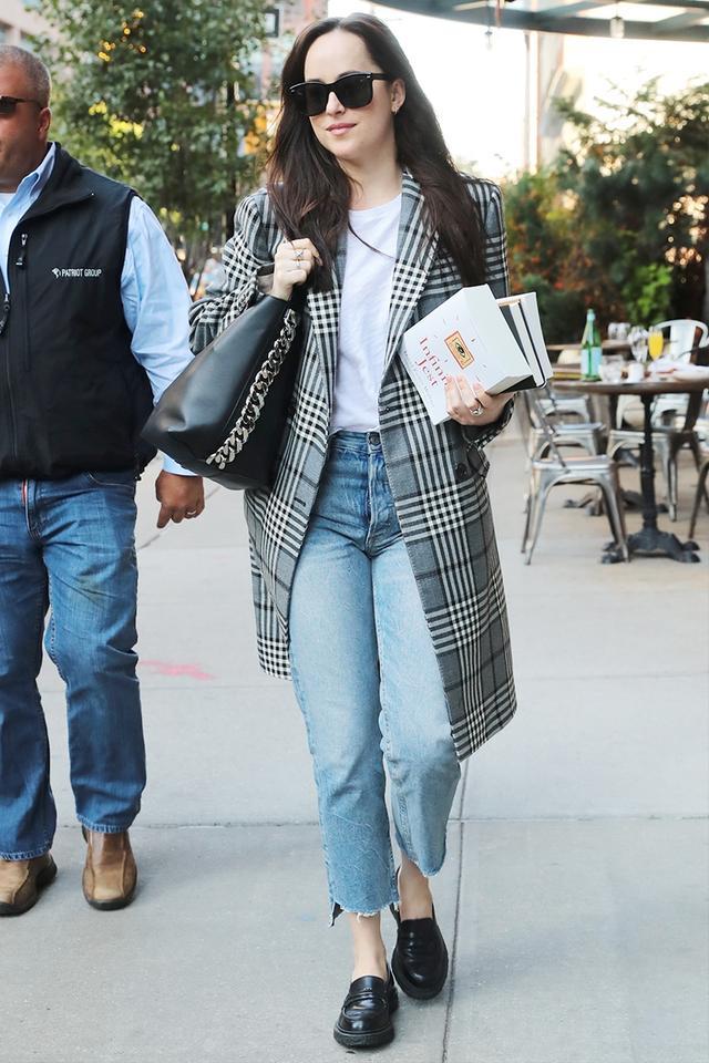 dakota johnson coat and jeans