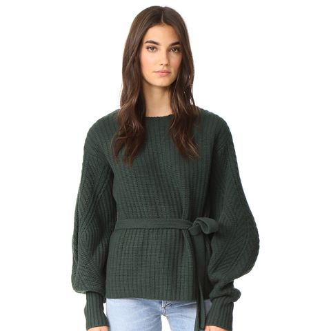 Classic Sweater With Voluminous Sleeves