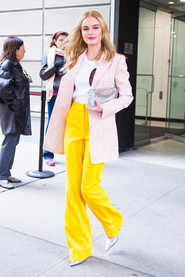 On Kate Bosworth:Oscar de la Renta S/S 18 blazer, shirt, and pants;Edie ParkerLara Chainmail Clutch ($525);PradaMetallic Textured-Leather Pumps($650)