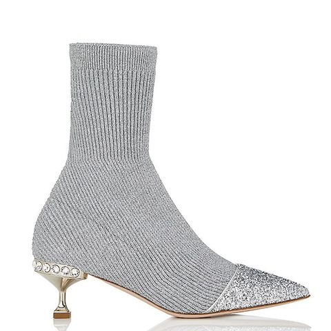 Rib-Knit Sock-Style Ankle Boots