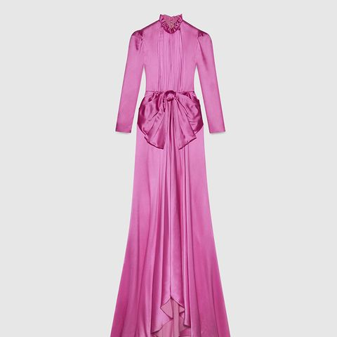 Long Sleeve Silk Gown
