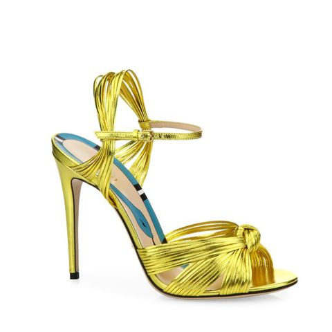 Allie Knotted Metallic Leather Sandals