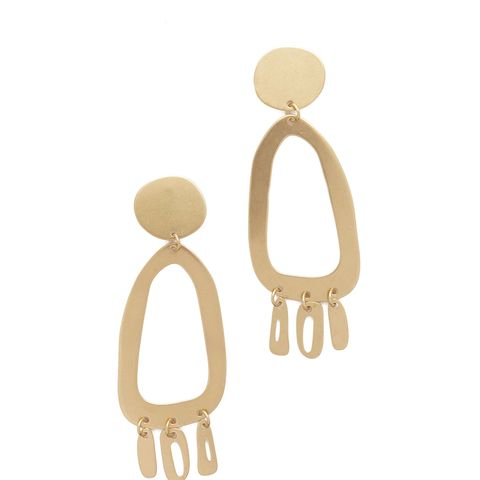 Odd Oval Fringe Earrings