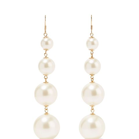 Gold-Plated Faux Pearl Earrings