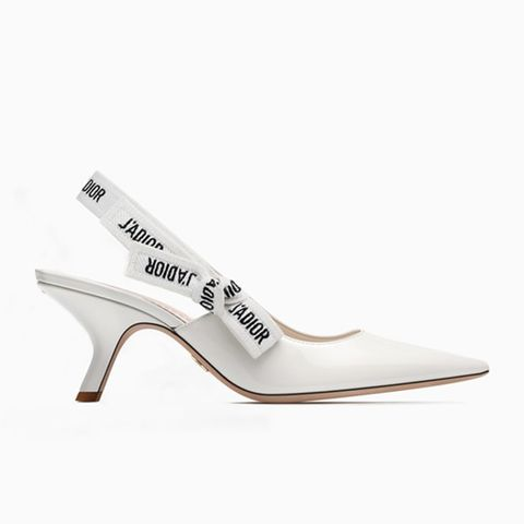 Sling-Back in White Patent Leather With J'adior Ribbon