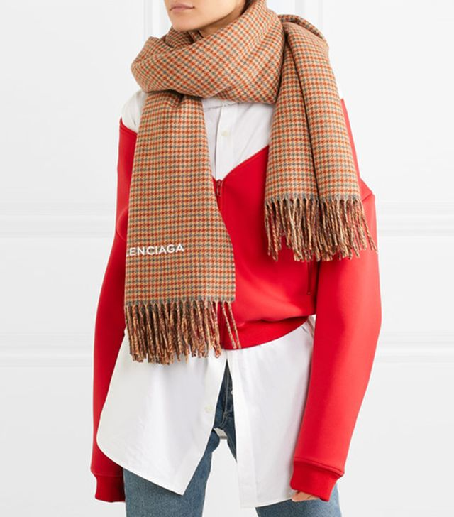 Balenciaga Houndstooth Cashmere and Wool-Blend Scarf