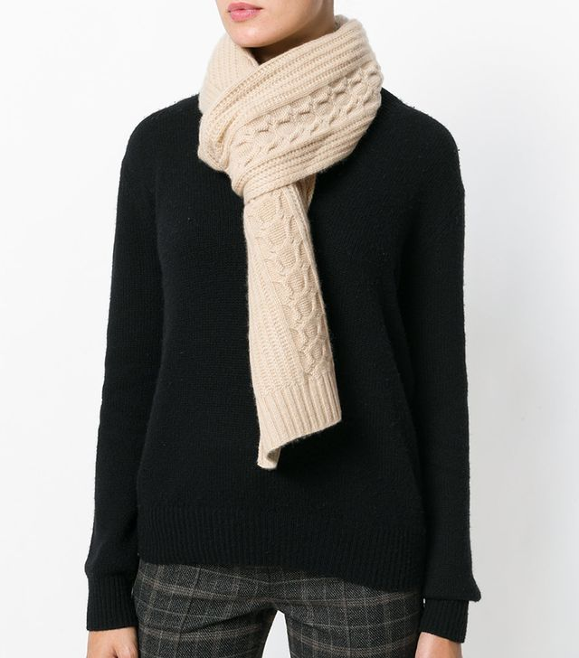 N. Peal Wide Cable Knit Scarf