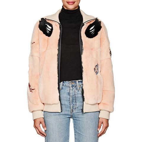 Embellished Fur Bomber Jacket