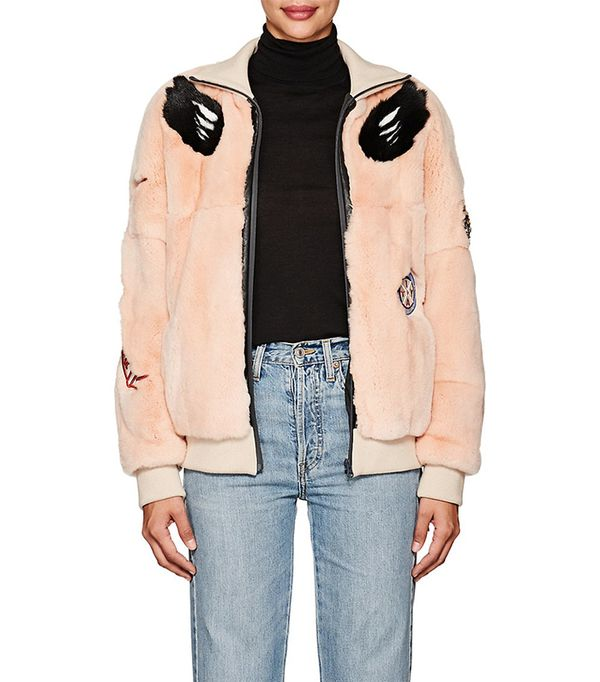 Women's Embellished Fur Bomber Jacket