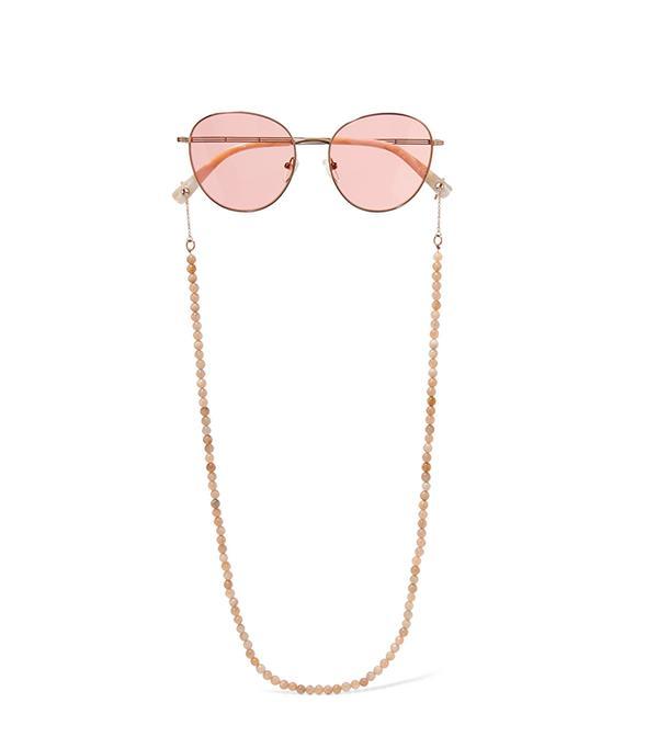 Gilmour Round-frame Bead-embellished Rose Gold-tone Sunglasses