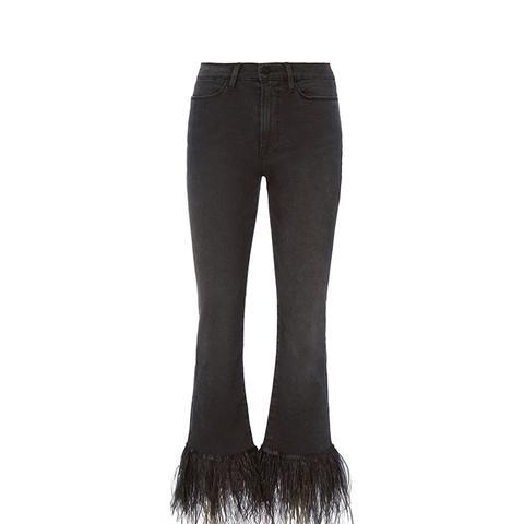 Le High Straight Feather Hem Jeans