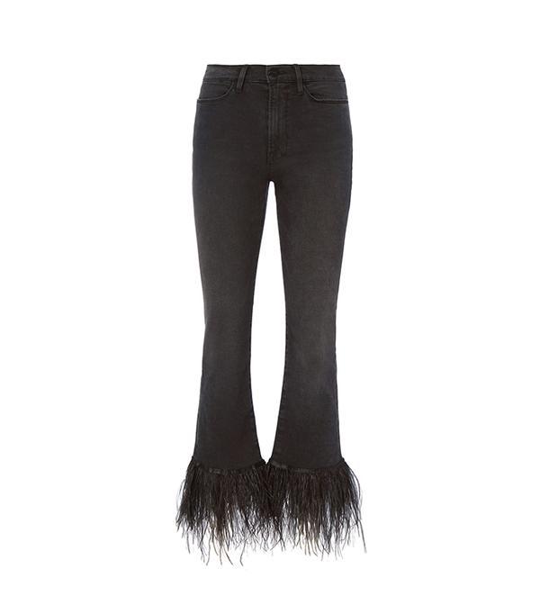 FRAME Le High Straight Feather Hem Jeans Black 25