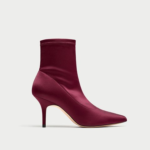High Heel Satin Ankle Boots