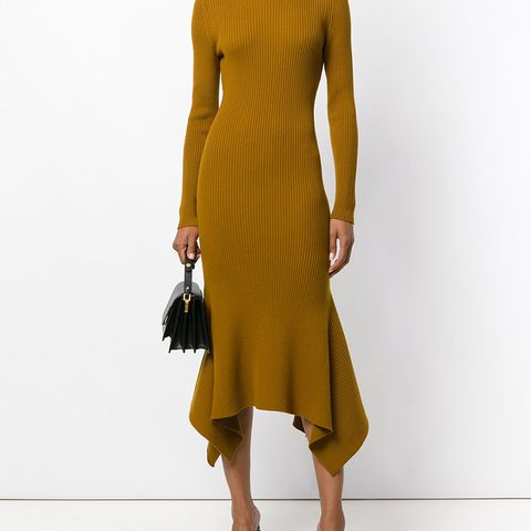 Draped Hem Ribbed Sweater Dress