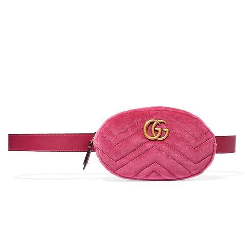 Marmont Matelassé Velvet And Leather Belt Bag