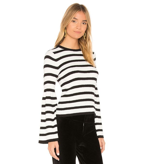 Striped Bell Sleeve Sweater in Black & White. - size M (also in L)