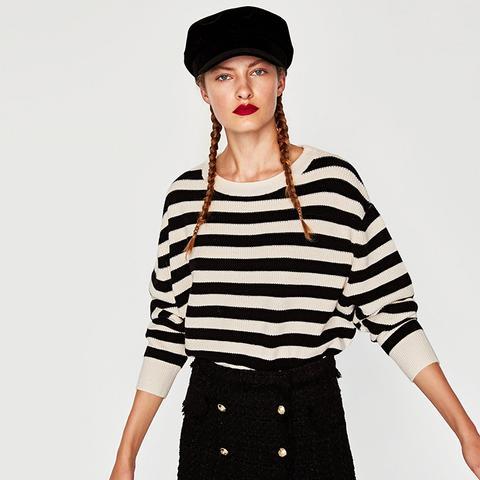 Striped Sweater With Round Neckline