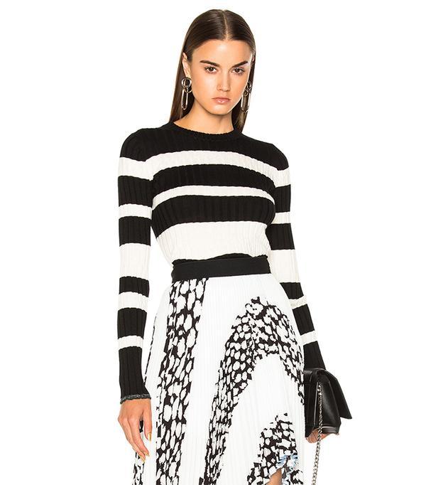 Ultrafine Striped Rib Long Sleeve Crewneck Sweater