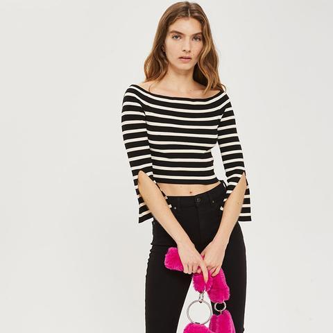Petite Bardot Split Sleeve Jumper