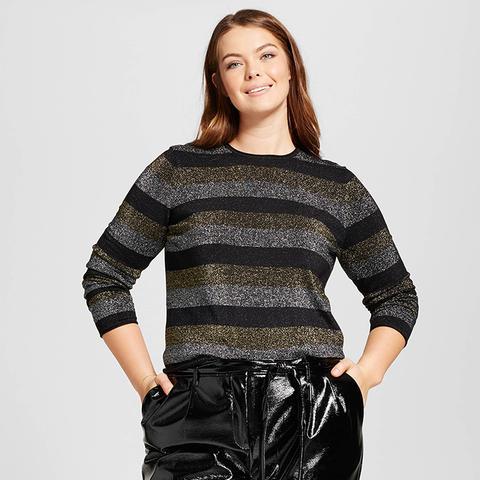 Long Sleeve Metallic Stripe Crew Sweater