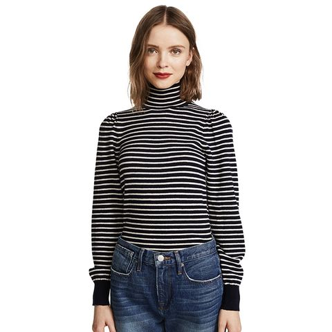 Stripe Rib Turtleneck Pullover