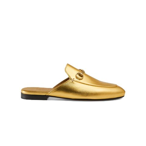 Princetown Metallic Leather Slipper