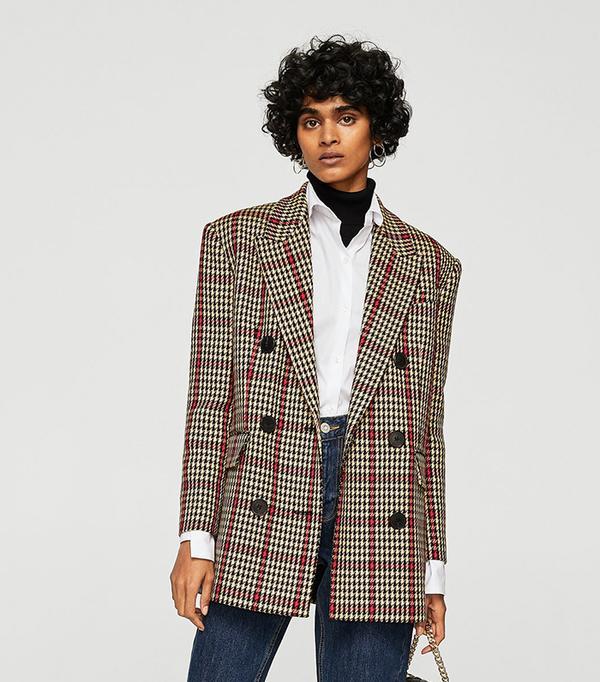 Houndstooth structured blazer