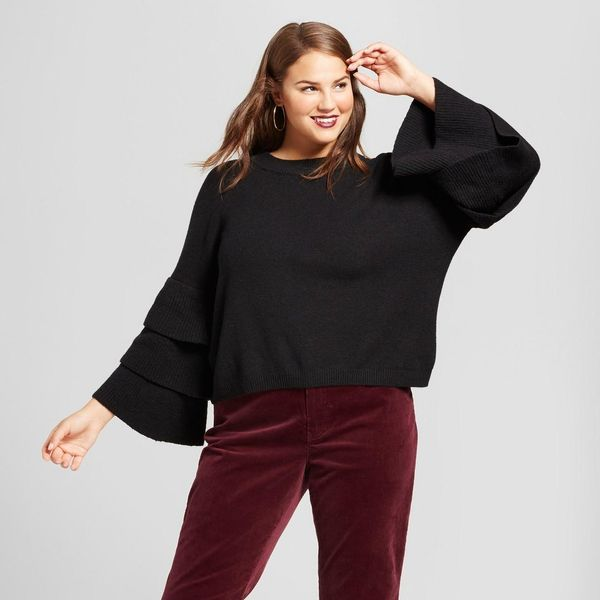 Plus Size 3/4 Sleeve Tiered Ruffle Crew Sweater