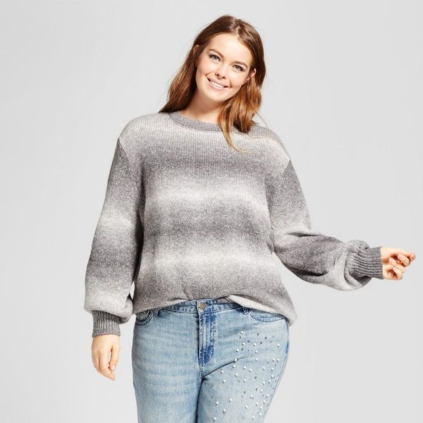 Plus Size Cocoon Sleeve Oversized Crew Neck Sweater