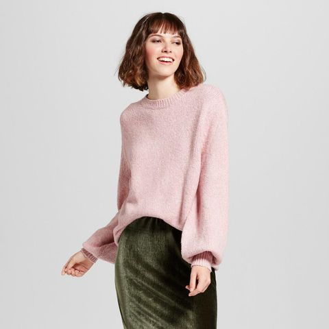 Cocoon-Sleeve Oversize Crew-Neck Sweater