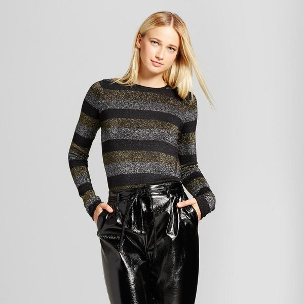 Long Sleeve Metallic Stripe Crew Sweater
