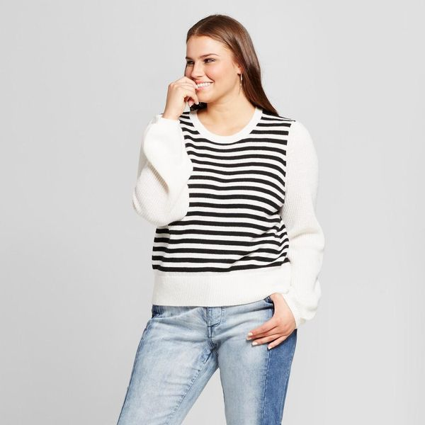 Plus Size Cozy Striped Crew Sweater