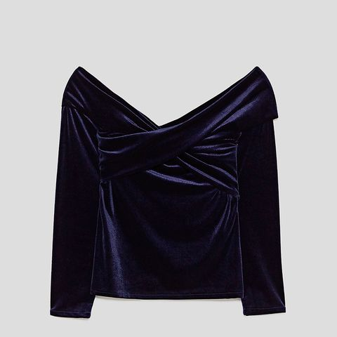 Velvet Top With Exposed Shoulders