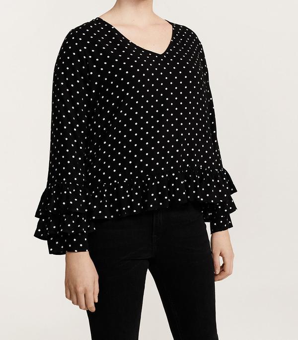 Ruffles polka dot blouse