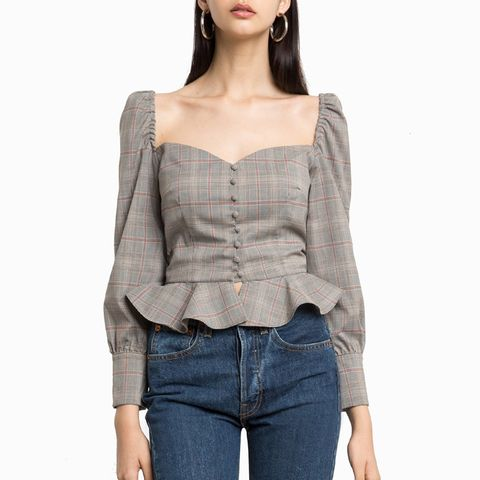 Plaid Valentina Puffy Sleeve Bustier Shirt