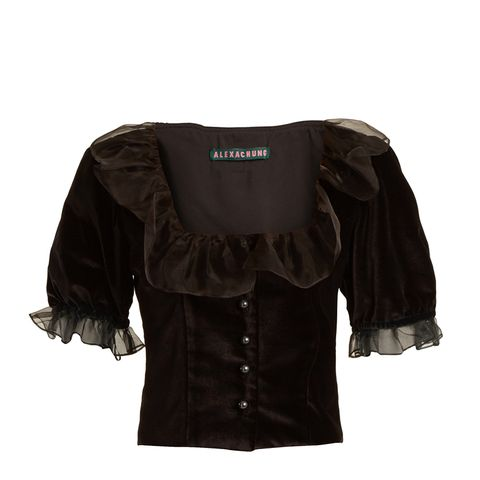 Ruffle-Trimmed Velvet Cropped Top