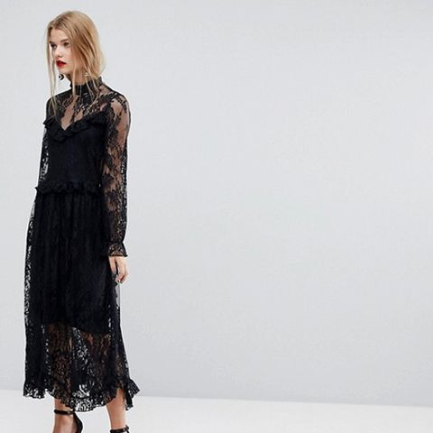 Lace Dress With Ruffle Detail
