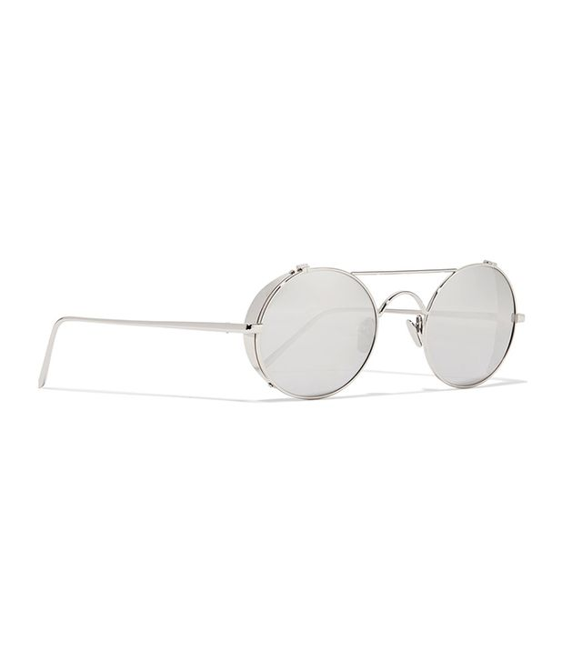 Round-frame White Gold-plated Mirrored Sunglasses