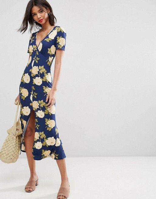 ASOS City Maxi Tea Dress with V Neck and Button Detail in Blue Floral Print