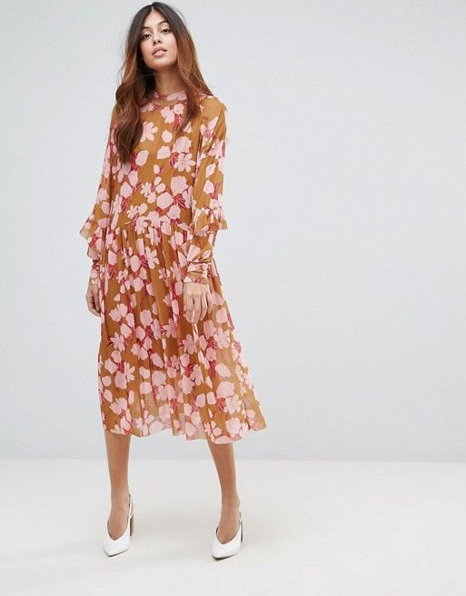 ASOS Y.A.S Floral Midi Dress With Ruffles