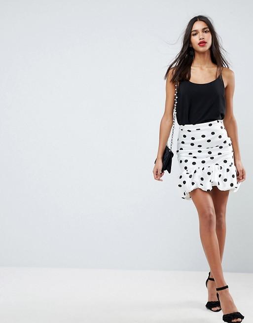 ASOS High Waisted Mini Puffball Skirt in Spot